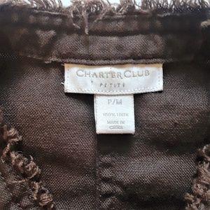 Charter Club Jackets & Coats - Charter Club Women's Jacket  Brown Raw Hem Linen